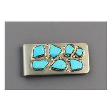 Sleeping Beauty Turquoise Money Clip by Zuni Artist, Curt Cheama