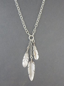 Sterling Silver Feather Necklace - Native American Jewelry