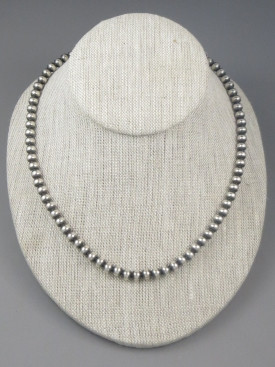 """Antiqued Sterling Silver 6mm Bead Necklace 24"""""""