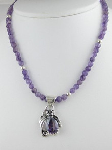 Sterling Silver Amethyst Bead Necklace (NK0300)