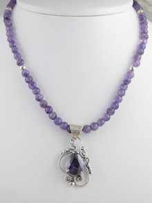 Sterling Silver Amethyst Bead Necklace (NK0301)