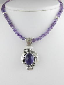 Sterling Silver Amethyst Bead Necklace (NK0302)