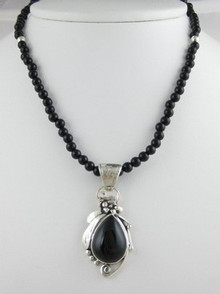 Sterling Silver Onyx Bead Necklace (NK0303)