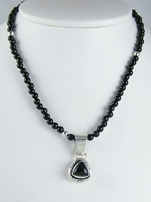 Sterling Silver Onyx Bead Necklace (NK0379)