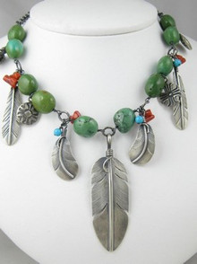 Sterling Silver Feather Charm & Turquoise Necklace