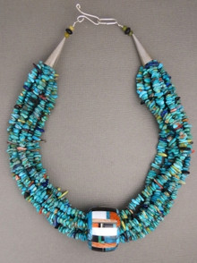 Turquoise & Gemstone Inlay Barrel Pendant Beaded Necklace by Christopher Nieto, Santo Domingo