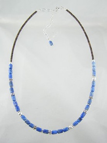 Denim Lapis Beaded Necklace