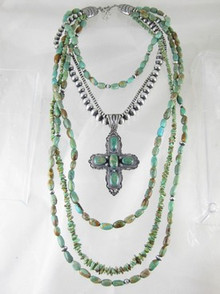 Sterling Silver Emerald Valley Turquoise Cross Long Graduated Bead Necklace - Aaron Toadlena