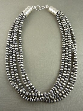 Antiqued Five Strand Sterling Silver Bead Necklace by Geneva Apachito