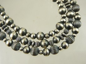 Antiqued Silver Bead Necklace - Three Strand Silver Bead Necklace