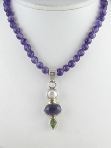 Sterling Silver Amethyst, Pearl & Peridot Necklace