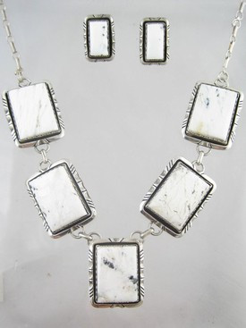 Sterling Silver White Buffalo Necklace & Earring Set