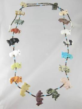 "Navajo Buffalo Fetish Necklace 28"""