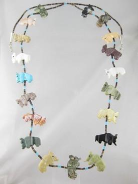 Navajo Buffalo Fetish Necklace