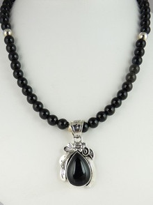 Silver Onyx Beaded Necklace