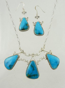 Sterling Silver Turquoise Necklace & Earring Set