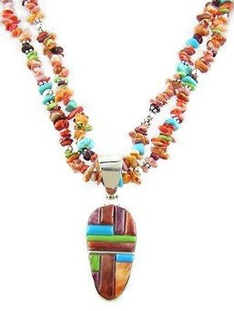 Multi Gemstone Sculpted Inlay Beaded Necklace by Cecil Ashley, Navajo