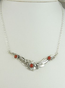 Dainty Silver Mediterranean Coral Necklace