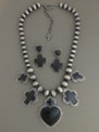 Black Onyx Heart & Cross Necklace & Earring Set