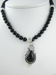 Sterling Silver & Onyx Bead Necklace (NK1059)