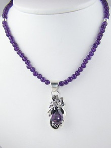 Sterling Silver & Amethyst Bead Necklace (NK1066)