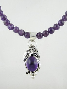 Sterling Silver & Amethyst Bead Necklace (NK1068)