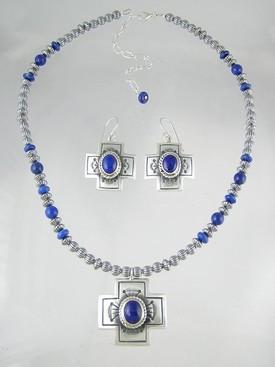 Sterling Silver Lapis Cross Necklace & Earring Set