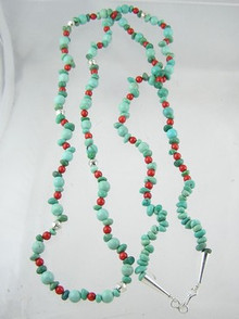 Turquoise & Coral Beaded Necklace 30 1/2""