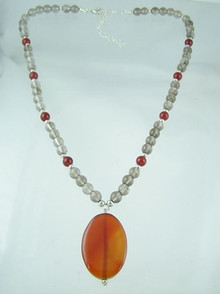 Smokey Quartz & Cherry Quartz Necklace