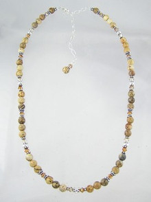 Jasper & Swarovski Topaz Bead Necklace