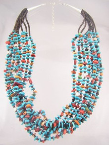Santo Domingo Turquoise, Spiny Oyster Shell, Coral, Jet & Pearl Necklace