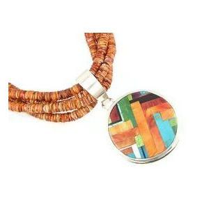 Santo Domingo Spiny Oyster Shell Heishi & Mosaic Inlay Necklace by Daniel Coriz