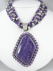 Sterling Silver Charoite & Amethyst Necklace & Earring Set