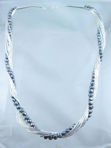 Liquid Silver Grey Pearl Necklace 24""