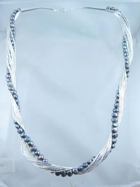 """Liquid Silver Grey Pearl Necklace 24"""""""