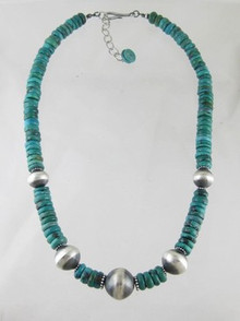 Turquoise & Antiqued Silver Bead Necklace