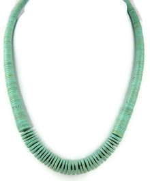 "Turquoise Heishi Necklace 23"" by Ronald Chavez, Santo Domingo (NK2099)"