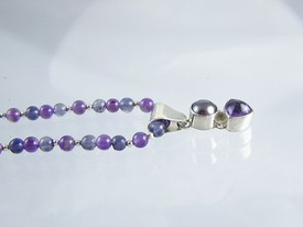 Sterling Silver Amethyst, Iolite and Grey Pearl Necklace