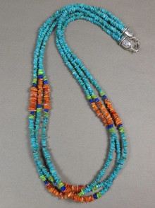 Three Strand Turquoise, Lapis, Gaspeite & Spiny Oyster Shell Beaded Necklace 30""