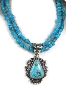 Spider Web Kingman Turquoise Necklace by Raymond Coriz, Santo Domingo Indian