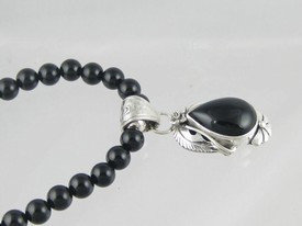 Sterling Silver & Onyx Bead Necklace (NK2345)
