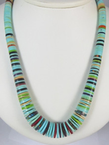 "Turquoise & Gemstone Heishi Necklace 28"" by Ronald Chavez, Santo Domingo"