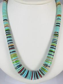 "Turquoise & Gemstone Heishi Necklace 28"" by Ronald Chavez, Santo Domingo"