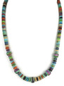 "Turquoise & Gemstone Heishi & Inlay Bead Necklace 21"" by Ronald Chavez, Santo Domingo"