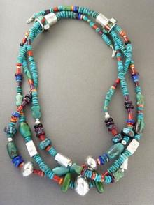 Turquoise & Gemstone Beaded Necklace by Daniel Coriz, Santo Domingo