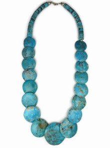 Turquoise Disc Bead Necklace by Joann Garcia, Santo Domingo Turtle Bead Necklace 24""
