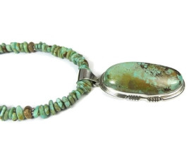 Sterling Silver Crow Springs Turquoise Necklace by Arnie Nelson, Navajo