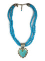Kingman Turquoise Heart Necklace by Elgin Tom, Navajo
