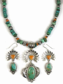 Royston Turquoise & Spiny Oyster Shell Sun Face Kachina Necklace Set by Freddy Charley, Navajo Indian