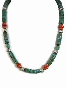 Turquoise & Spiny Oyster Shell Necklace - Adjustable Length